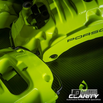 Porsche Brembo Brake Calipers In A Neon Yellow And Casper Clear Finish