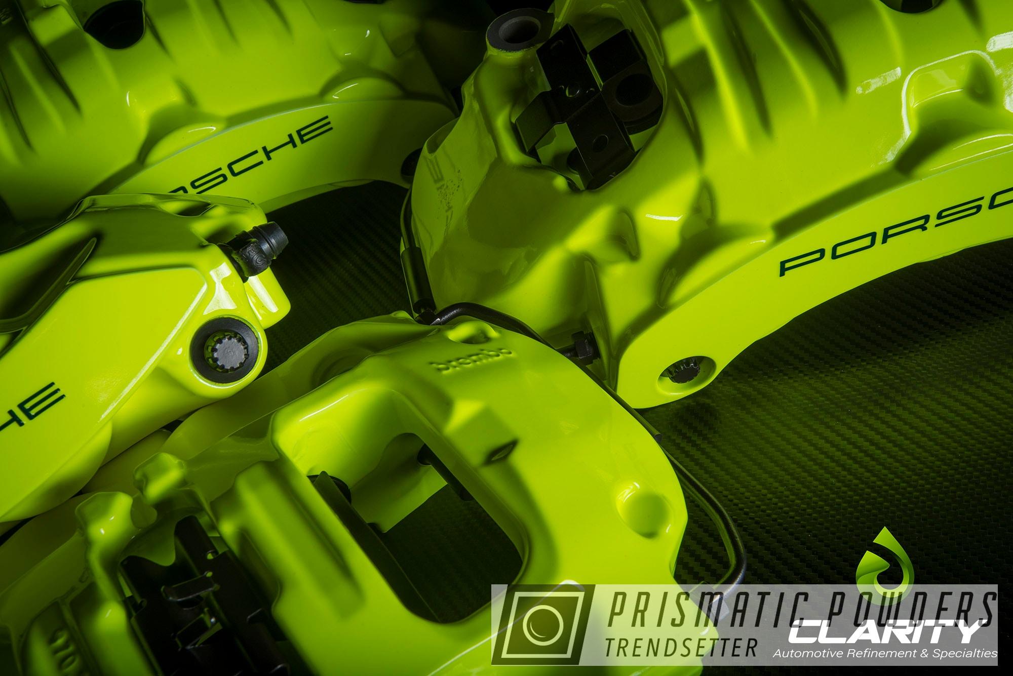 Powder Coating: Automotive,Custom Brake Caliper,Brembo,Porsche,Neon Yellow PSS-1104,Casper Clear PPS-4005,Brembo Brakes,Brembo Brake Calipers,Custom Brake Calipers,Powder Coated Brembo Brakes