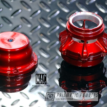 Turbo Charger Wastegate Valve Coated In A Deep Red Powder Coat