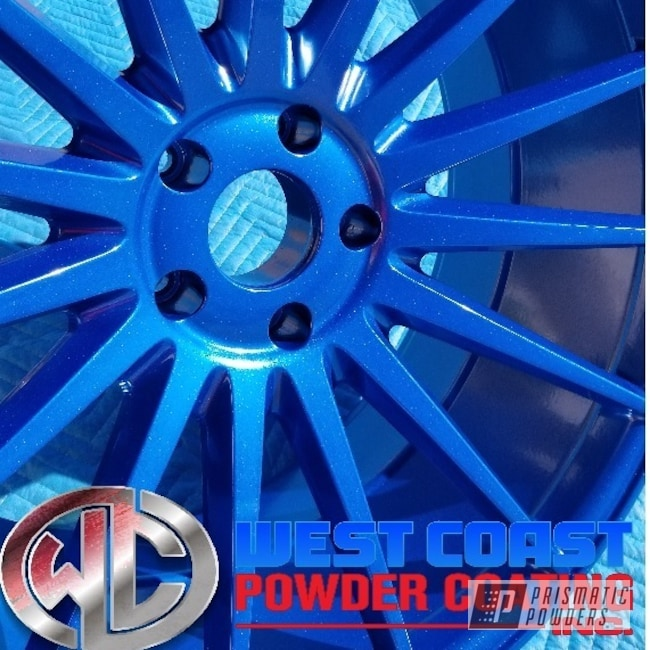 Powder Coating: Wheels,Custom,Automotive,Sparkling Aqueous PPB-4010,2-Coats,Alien Silver PMS-2569
