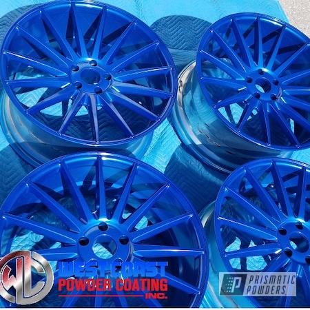 Powder Coating: Wheels,Custom,Automotive,Sparkling Aqueous PPB-4010,2-Coats,Alien Silver PMS-2569
