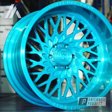 Complete Rim Done In A H.d. Teal Powder Coat