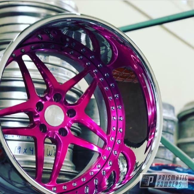 Custom Wheel Done In A Candy Raspberry Powder Coat