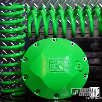 Powder Coated Jeep Coil Springs And Differential Cover In Racer Green