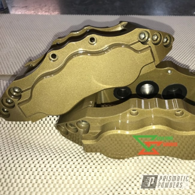 Brake Calipers In Gold Metallic And Clear Vision Powder Coat