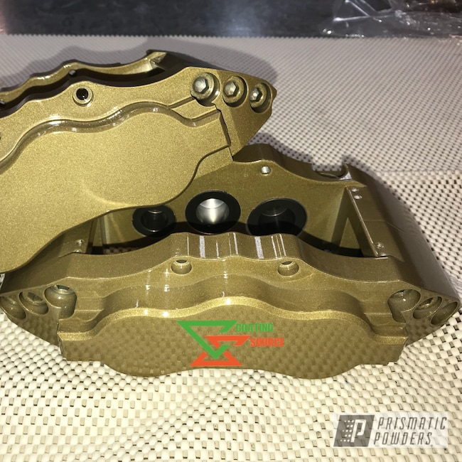 Powder Coating: Clear Vision PPS-2974,Brake Calipers,Gold Metallic PMS-6374,Custom Brake Calipers
