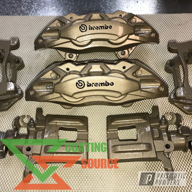 Powder Coating: Bismark Gold PMB-2015,Clear Vision PPS-2974,Brembo,Brake Calipers,Brembo Brake Calipers,Custom Brake Calipers