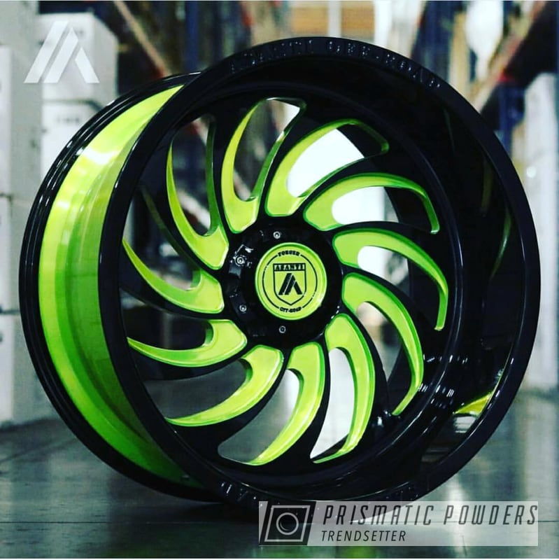 Powder Coating: Wheels,Automotive,Custom Wheels,Ink Black PSS-0106,Custom 2 Coats,Two Tone,Shocker Yellow PPS-4765,Two Toned