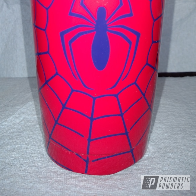 Powder Coating: RAL 3027 RAL-3027,Clear Vision PPS-2974,Tumbler,cup,Two Stage Application,RAL 5022 RAL-5022,Spiderman,Custom Tumbler Cup