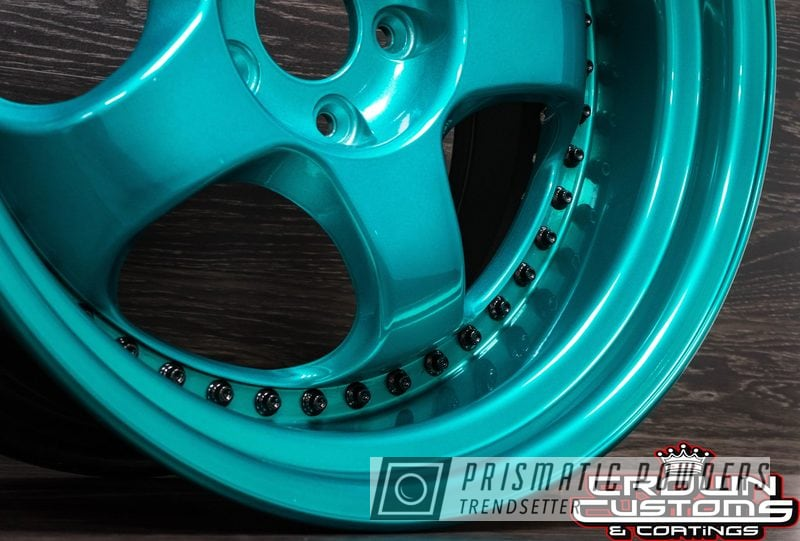Powder Coating: Wheels,Automotive,JAMAICAN TEAL UPB-2043,SUPER CHROME USS-4482,2 Piece Wheels,GLOSS BLACK USS-2603,Two Toned