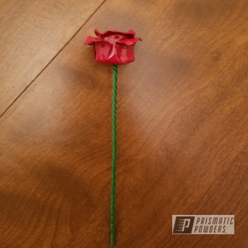 Fabricated Flower In A Flag Red And Kelly Green Powder Coat