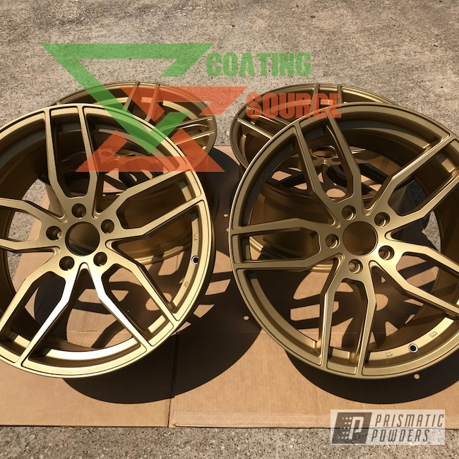 Powder Coating: Wheels,Custom Wheels,Powder Coated Wheels,Satin Poly Gold PMB-6487