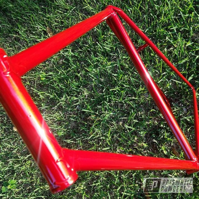 Powder Coating: Bicycles,Clear Vision PPS-2974,Bike Frame,bike,Illusion Red PMS-4515,Custom Bike