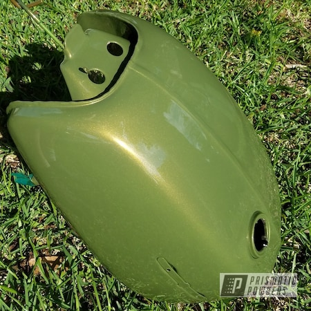 Powder Coating: Clear Vision PPS-2974,Motorcycle Parts,Motorcycle Tank,Motorcycles,Mossburg Green PMB-2938