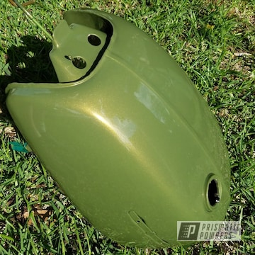 Motorcycle Tank with Mossburg Green and Clear Vision