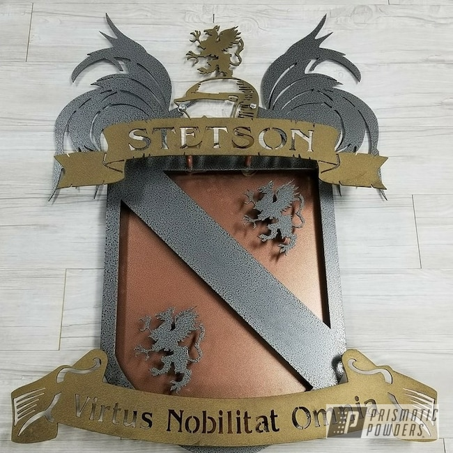 Powder Coating: Coat of Arms,Powder Coated Sign,Sign,signage,Splatter Brass PWB-6638,Custom Sign,Textured,Silver Artery PVS-3014,Copperwood-(Discontinued) EVS-2434,Metal Sign