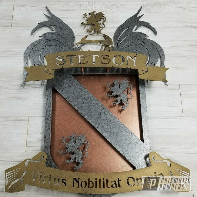 Powder Coating: Coat of Arms,Powder Coated Sign,Sign,signage,Copperwood EVS-2434,Splatter Brass PWB-6638,Custom Sign,Textured,Silver Artery PVS-3014,Metal Sign
