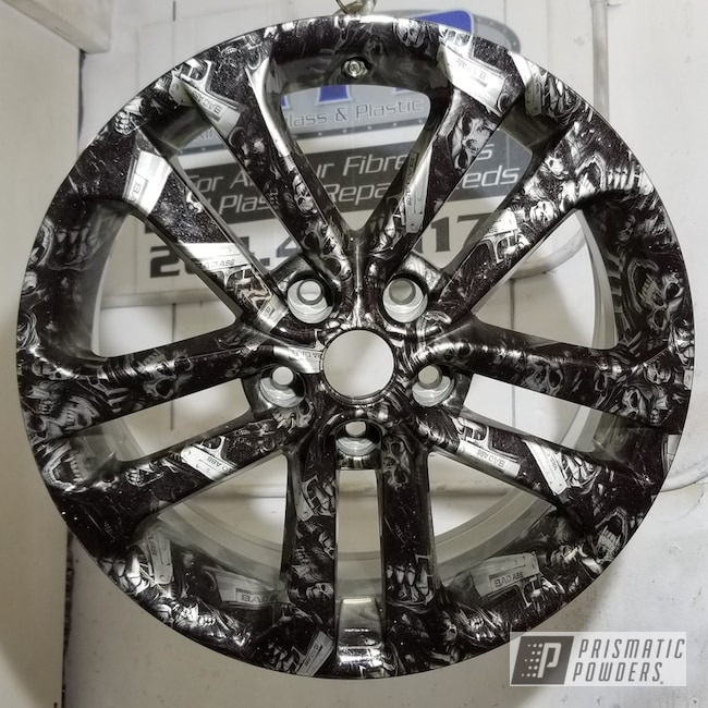 Custom Wheel Done In Super Chrome And Twinkle Tows Powder Coating W/ Hydrographic Decal