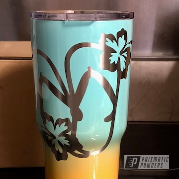 Custom Rtic Cup Powder Coated In Sea Foam Green, Cascade Peach And Clear Vision