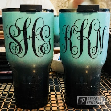 Custom Powder Coated Tumbler Cup In A Black And Green Finish