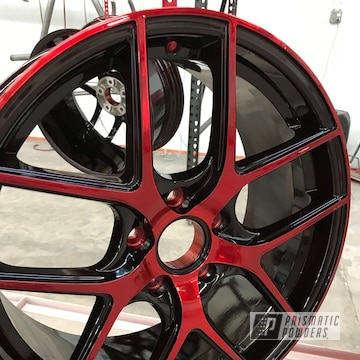 Dazzling Red Over A Black Base Coat With Machined Faces