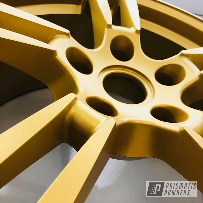 Porsche 22 Inch Wheels In A Goldtastic Powder Coating