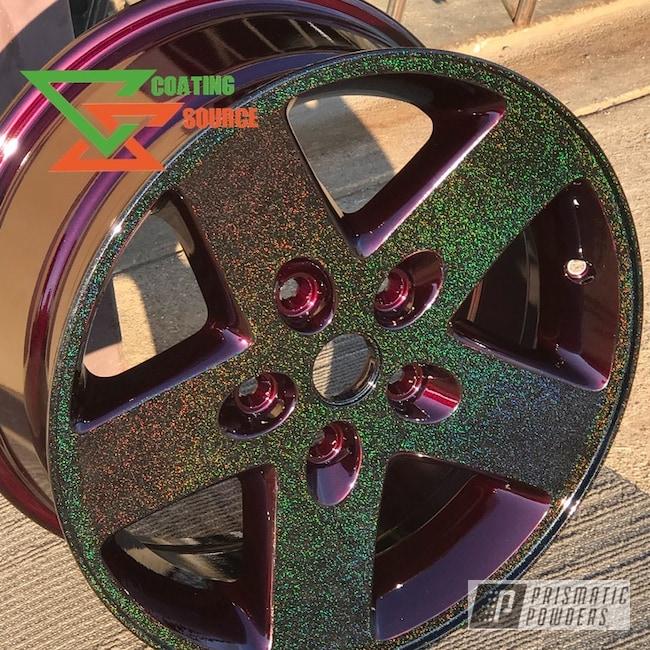 Powder Coating: Wheels,Automotive,Clear Vision PPS-2974,Custom Wheels,City Lights PMB-2689,Custom Powder Coated Wheels,Metallic Powder Coating,Glitter Wheels,Illusion Malbec PMB-6906