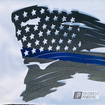 American Flag Cnc Coated In Splatter Black And Intense Blue Powder Coating