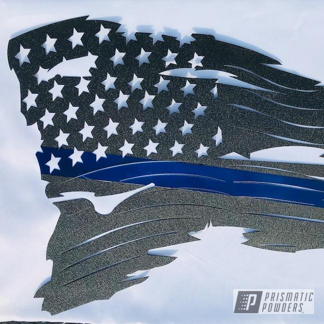 Powder Coating: Splatter Black PWS-4344,Thin Blue Line,Sign,Intense Blue PPB-4474,Powder Coated Artwork,Metal Sign