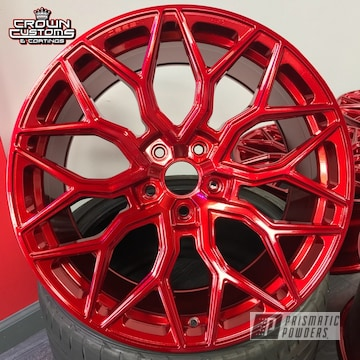 Vossen Hf-2 Wheels Refinished In Lollypop Red Top Coat With Super Chrome Base