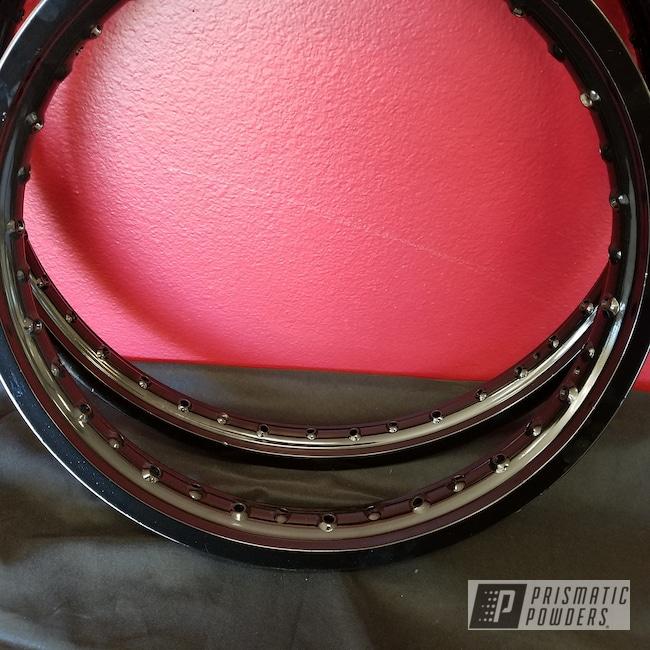 Powder Coating: Rims,Ink Black PSS-0106,Powder Coated Motorcycle Rims,Motorcycles,Spoked Rims,Dirt Bike