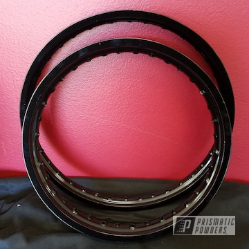 Dirt Bike Rims Coated In Ink Black Powder Coating