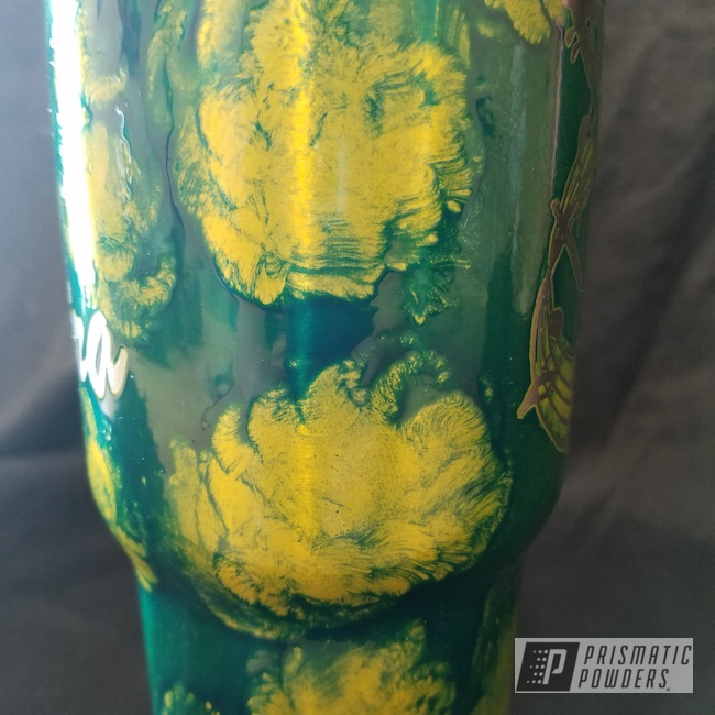 Powder Coating: Cheater Blue PPB-6815,Tumbler,Custom Cup,Psycho Lemon PPB-2366