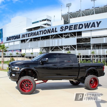 Custom Truck Wheels And Suspension In Illusion Cherry And Clear Vision