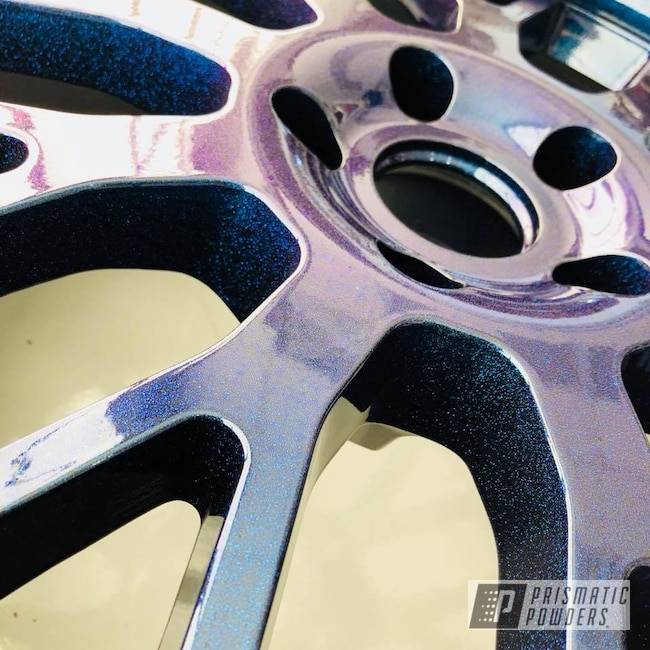 Powder Coating: Wheels,Custom,Automotive,Custom Wheels,TSW,Chameleon Sapphire PPB-5729,Ink Black PSS-0106,Two Coat Application