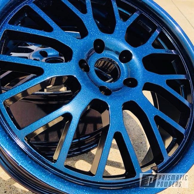 Powder Coating: Wheels,Custom,Automotive,Custom Wheels,TSW,Chameleon Sapphire PPB-5729,Ink Black PSS-0106,Two Coat Application