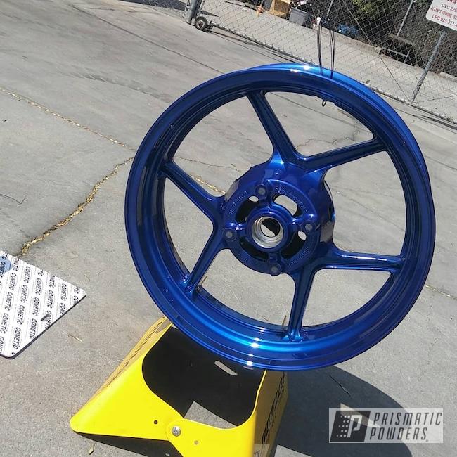 Powder Coating: Wheels,Kawasaki,Powder Coated Kawasaki Wheel,SUPER CHROME USS-4482,Springs,Motorcycles,LP Blue PPB-6617