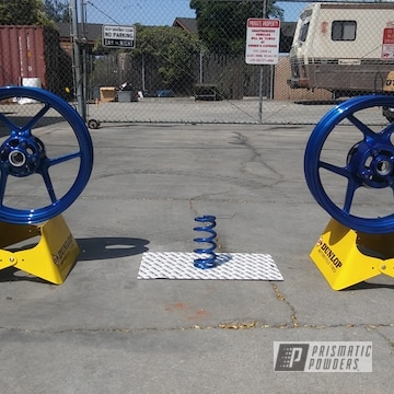 Powder Coated Kawasaki Wheels And Spring In Lp Blue Over Super Chrome