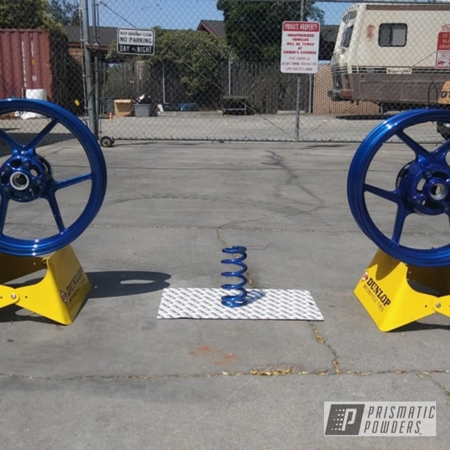 Powder Coating: Wheels,Kawasaki,Powder Coated Kawasaki Wheel,Super Chrome USS-4482,Springs,Motorcycles,LP Blue PPB-6617