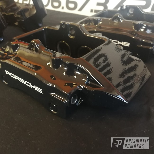 Powder Coating: Automotive,Calipers,Clear Vision PPS-2974,Marking on brake calipers,GLOSS BLACK USS-2603,Gloss White PSS-5690,Porsche brake caliper,Custom Brakes,Custom Brake Calipers,Two Coats