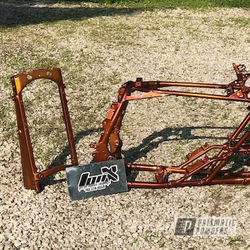 Atv Frame Powder Coated In Transparent Copper And Heavy Silver