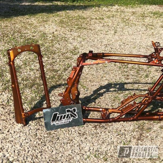 Powder Coating: ATV Frames,Transparent Copper PPS-5162,Heavy Silver PMS-0517,ATV