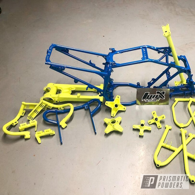 Powder Coating: ATV Frame,Custom ATV Frame,ATV,SPARKS BLUE UMB-1809,ATV Parts,Honda Yellow PMB-1657