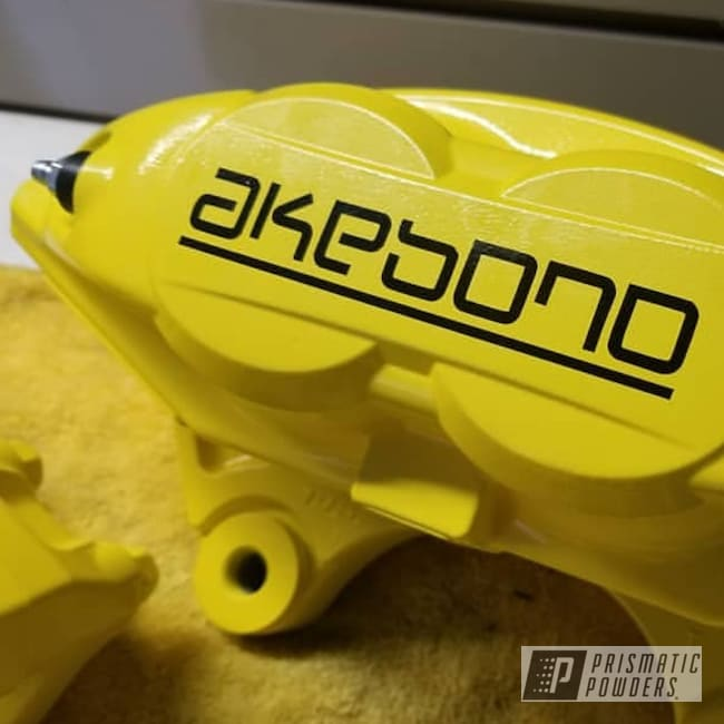 Powder Coating: Automotive,Calipers,Powder Coated Akebono Brake Calipers,Powder Coat,Brakes,Akebono Brake Calipers,Glowing Yellow PPB-4759,Custom Brake Calipers