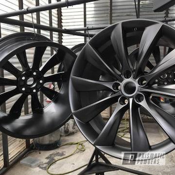 Tesla Wheels Freshly Powder Coated In Evo Grey