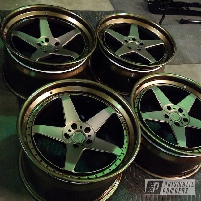 Powder Coating: Wheels,Automotive,Clear Vision PPS-2974,Bronze Chrome PMB-4124,Casper Clear PPS-4005