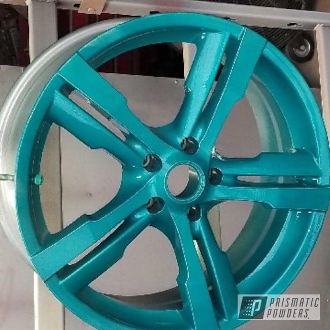 Powder Coating: Wheels,Automotive,Nissan,Rims,HD TEAL UPB-1848,Lazer Bronze PMB-4152