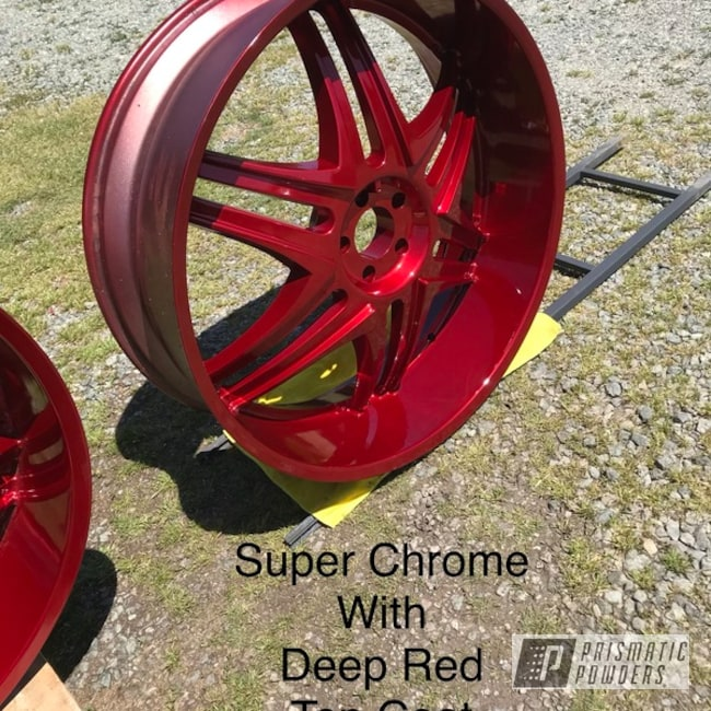 Powder Coating: Wheels,Automotive,SUPER CHROME USS-4482,Deep Red PPS-4491