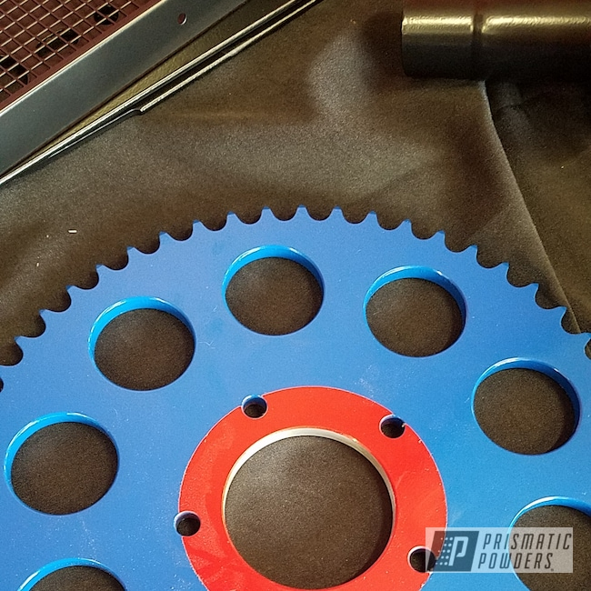 Powder Coating: Motorcycle Sprocket,Motorcycle Parts,BMW,RAL 3002 RAL-3002,Motorcycles,RAL 5005 RAL-5005