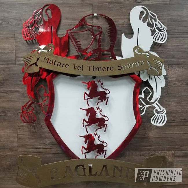 Powder Coating: LOLLYPOP RED UPS-1506,Polar White PSS-5053,Splatter Brass PWB-6638,Custom Sign,Custom Coat Of Arms,Metal Sign
